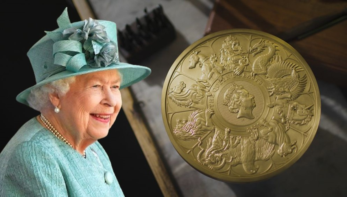 Kraliçe Elizabeth'in canavar figürlerini temsil eden madeni para