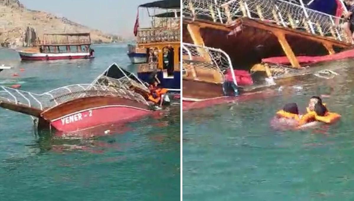 Şanlıurfa Halfeti'de tur teknesi battı (Yolcular güneşten gölgeye geçince alabora oldu iddiası)  <p class=