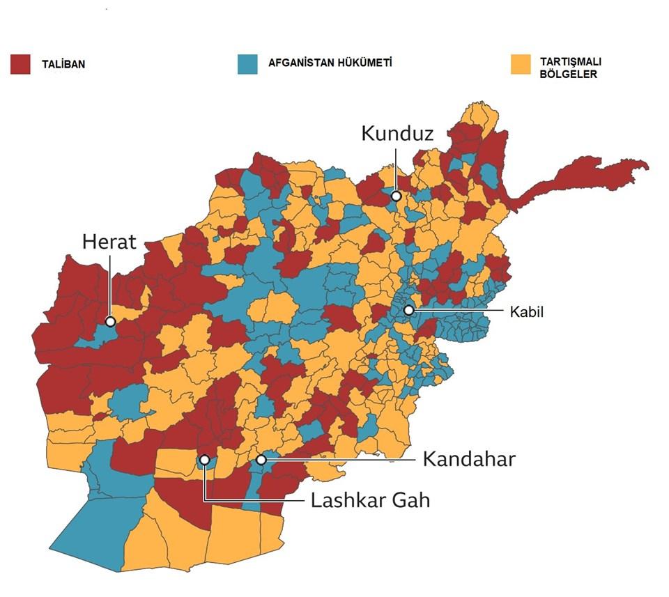 Tartışmalı bölgelerde çatışmalar devam ediyor. BBC'de yer alan bilgilere göre çatışmalı bölgelerin çoğunluğunda Taliban'ın üstün durumda olduğu görülüyor.