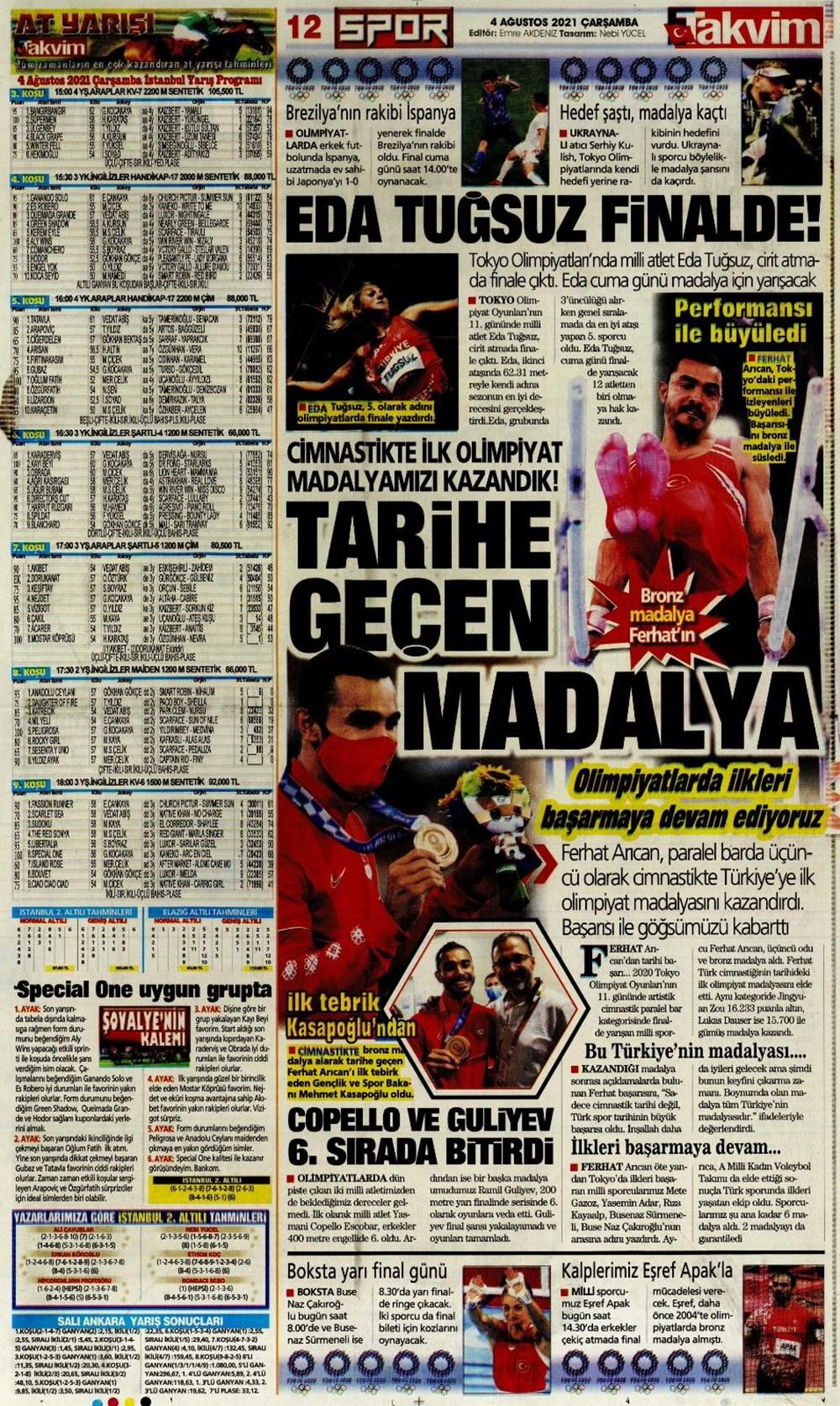 Günün spor manşetleri (4 Ağustos 2021) - 12