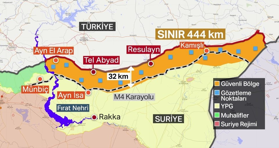 Erdoğan'ın gazetecilerle paylaştığı güvenli bölgedeki gözlem noktalarını gösteren harita.