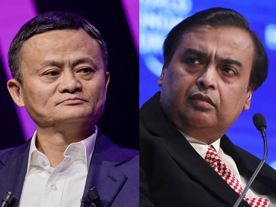 Soldan sağa: Jack Ma veMukesh Ambani.