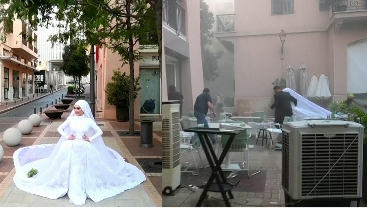 Lübnanlı gelin patlamaya fotoğraf çekiminde yakalandı