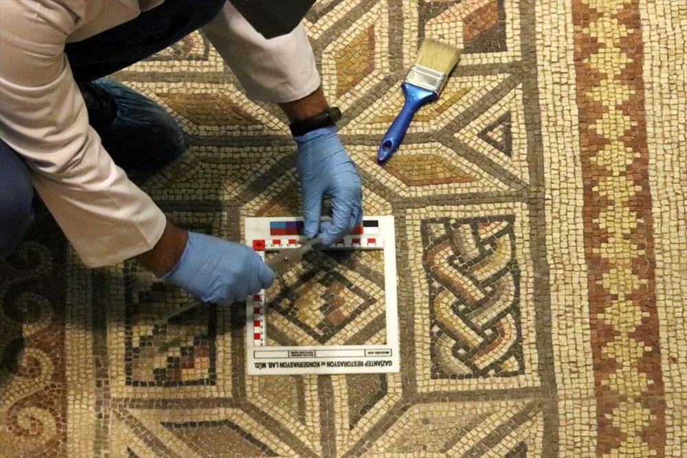 Zeugma Mozaik Müzesi'ndeki eserler, cerrah hassasiyetiyle temizlenerek geleceğe aktarılıyor - 7