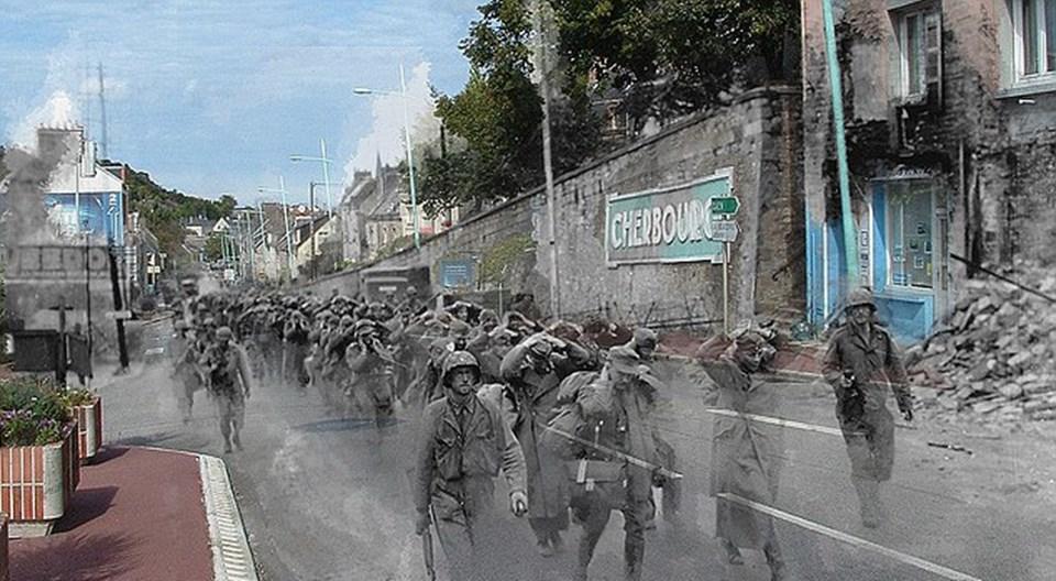Fransa'nın Cherbourg şehrindeki modern bir caddede 2. Dünya Savaşı'na katılan askerler mahkumları yürütüyor