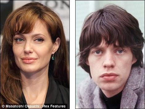 Angelina Jolie ve genç Mick Jagger
