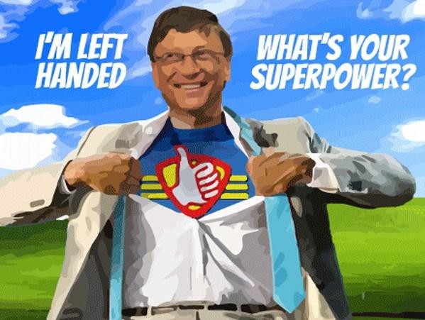 Dünyanın en zengin insanı Bill Gates, solaklığı ile övünenlerden...