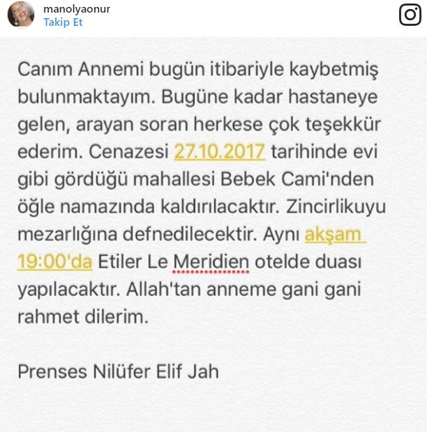 Onur'un ölüm haberini kızı Prenses Nilüfer Elif Jah, sosyal medya hesabından bildirdi.