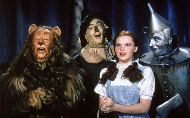 Ödlek Aslan, Klasik Oz Büyücüsü filminde, Korkuluk, Dorothy ve Teneke Adam ile beraber