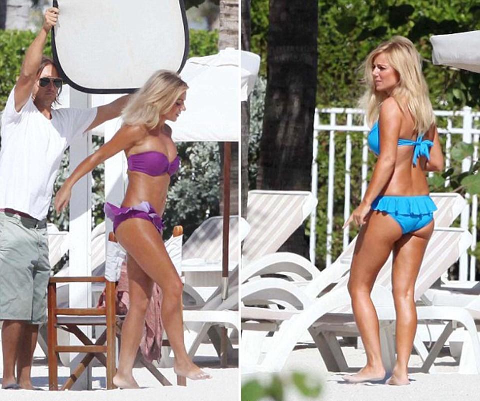 38 yaşındaki Halliwell çekimler sırasında bir çok bikini değiştirdi