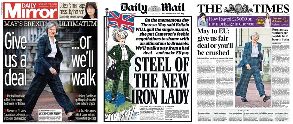 İngiliz basını, Theresa May'in Brexit konuşmasını manşetlerden böyle gördü.