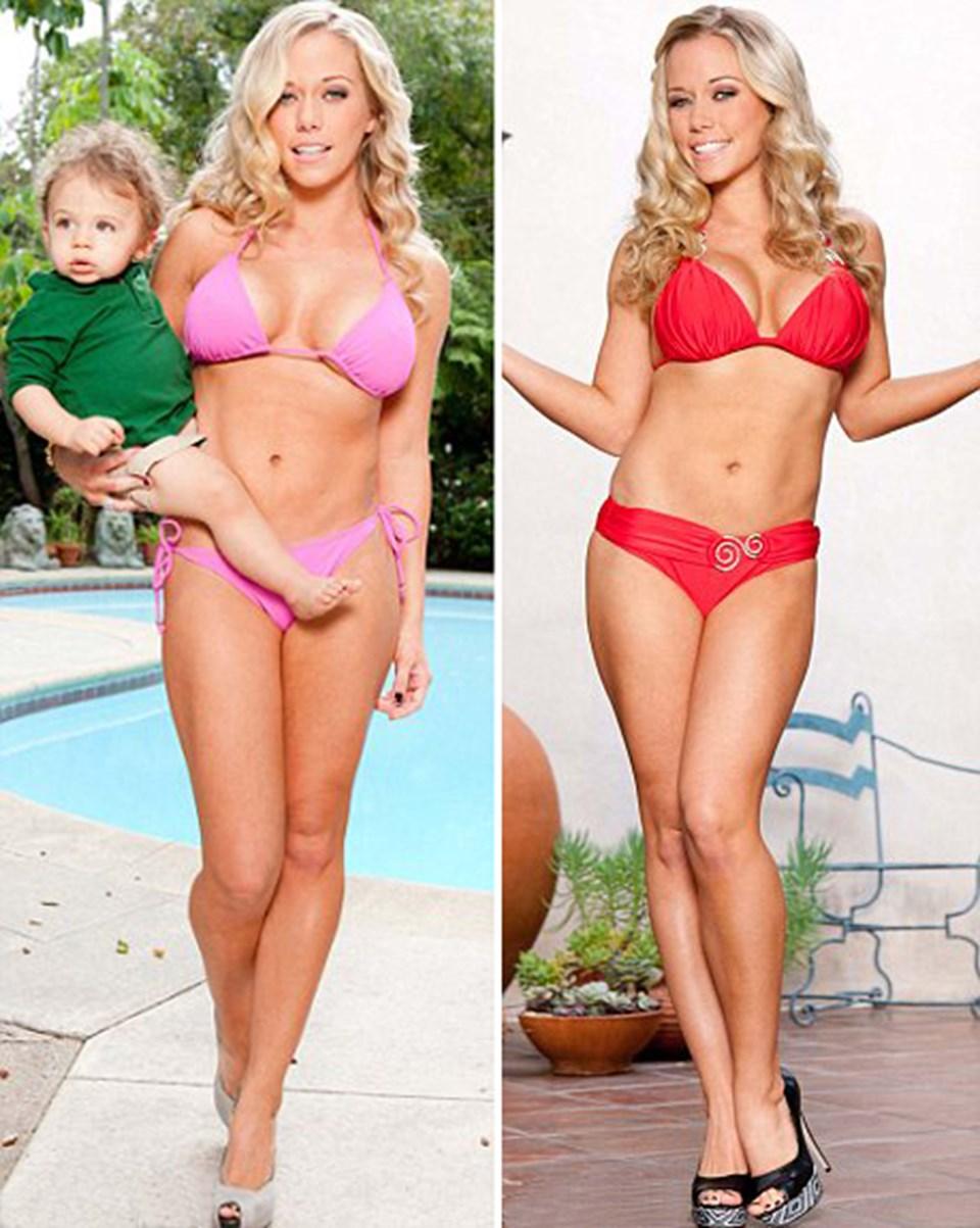 Eski Playboy modeli Kendra Wilkinson bir Amerikan dergisine pembe ve kırmızı bikini ile poz verdi
