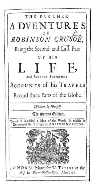 Robinson Crusoe'un orjinal kapağı