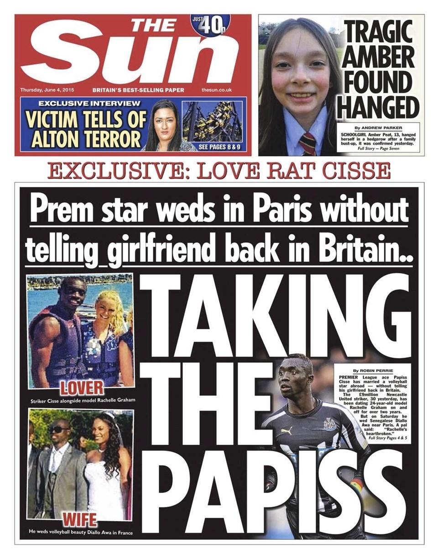 Siyahi futbolcunun kız arkadaşı Rachelle, sürpriz nikahı The Sun'ın bu manşetinden öğrendi
