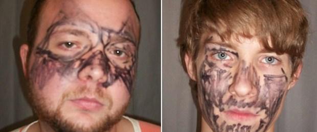 Yüzlerine maske çizip ev soymaya kalktılar