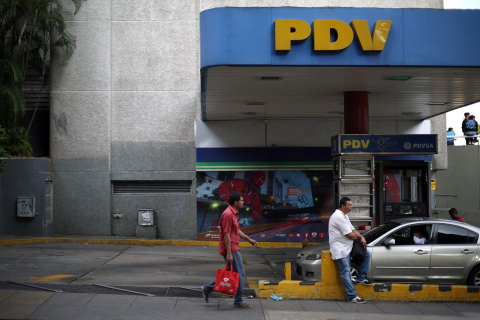 Devletin petrol şirketi PDV'nin Caracas'ta bir benzin istasyonu