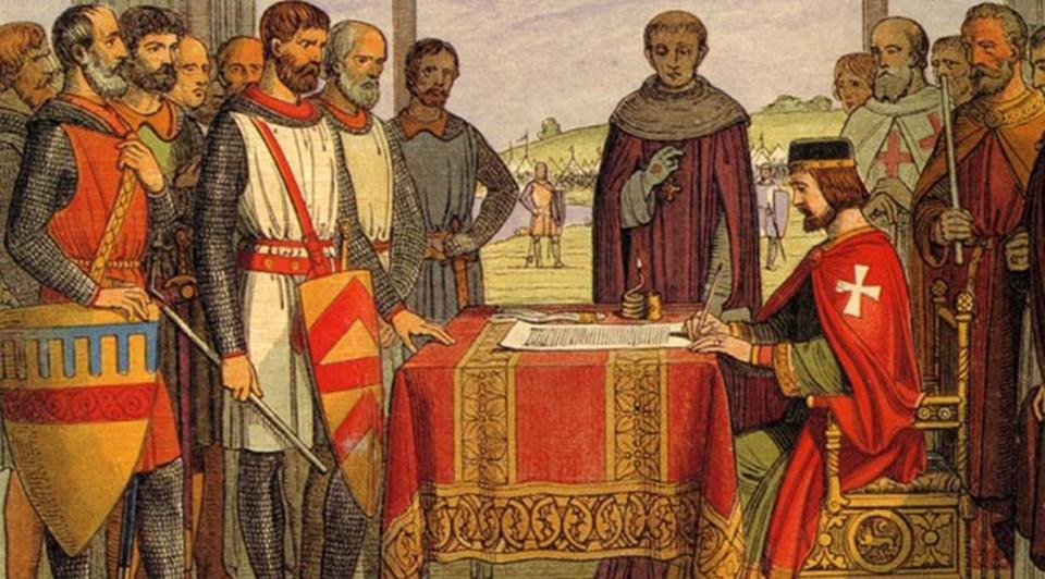 1225 yılında Kral John'un Magna Carta belgesini imzalarken gösteren temsili fotoğraf