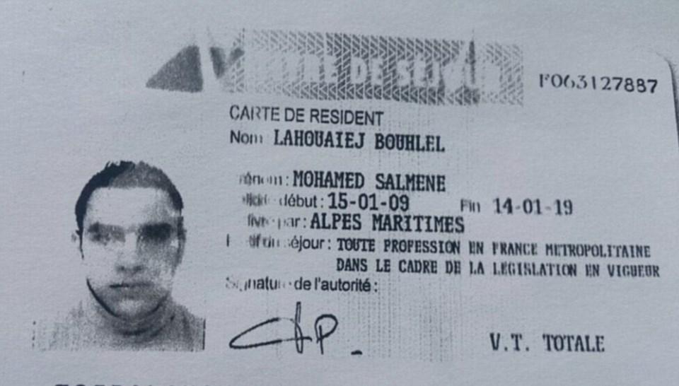 Saldırganın kamyonda bıraktığı kimlik kartı Fransız basını tarafından yayınlandı.