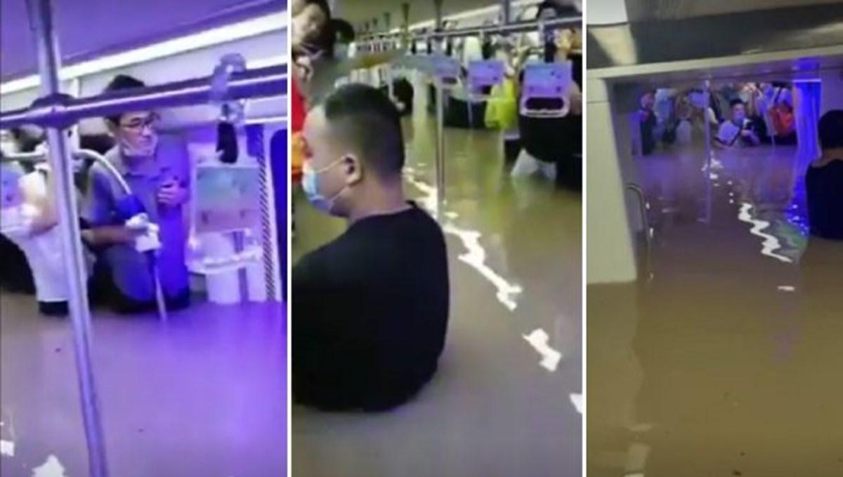Çin'de sel felaketi: Metro hattı su altında kaldı